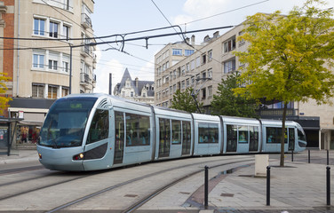 Modern tram in Valenciennes Wall mural