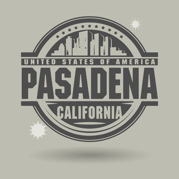 Stamp or label with text Pasadena, California inside