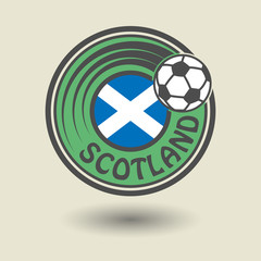 Stamp or label with word Scotland, football theme