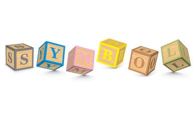 Word SYMBOL written with alphabet blocks