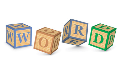 Word WORD written with alphabet blocks