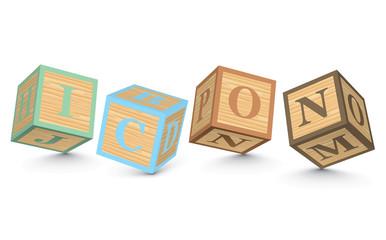 Word ICON written with alphabet blocks