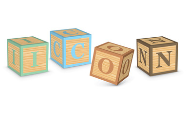 Word ICON written with alphabet blocks