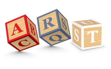 Word ART written with alphabet blocks