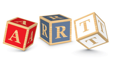 Word ART written with alphabet blocks