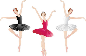 Ballerinas set isolated on white