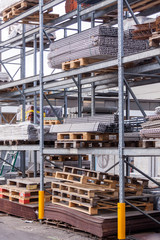 Building and construction materials in a warehouse