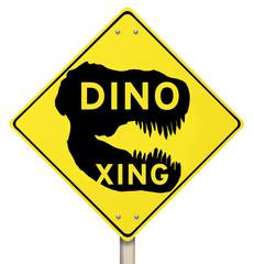 Dino Xing Dinosaur Crossing Yellow Warning Road Sign