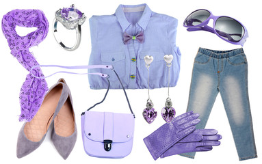 Collage of clothes in lilac colors isolated on white