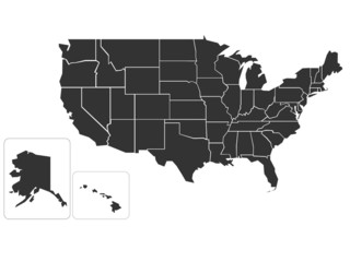 Blank simlified map of USA