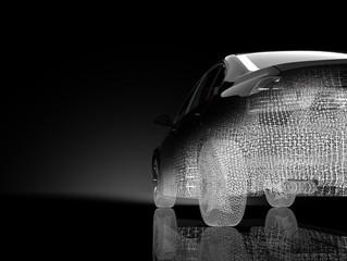 3d car model on a black background