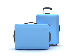 Two suitcases on white background