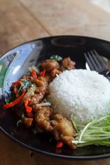 Fried chicken stir crispy basil ,Thai food
