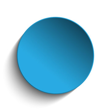 Blue Circle Button on White Background