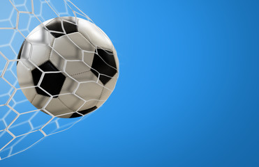 Amazing soccer goal on blue background