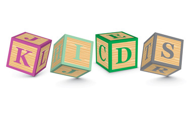 Word KIDS written with alphabet blocks
