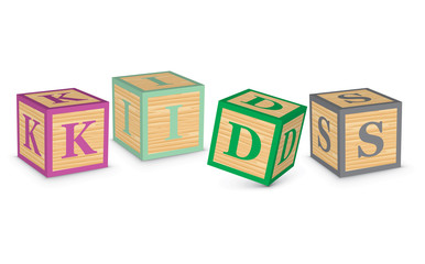 Word KIDS written with alphabet blocks