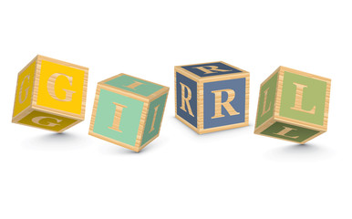 Word GIRL written with alphabet blocks