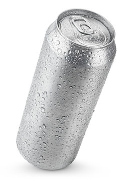 500 ml aluminum beer can with water drops isolated on white