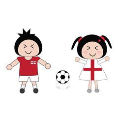 vector boy and girl in England football uniform
