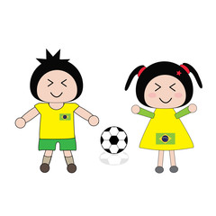 vector boy and girl in Brazil football uniform