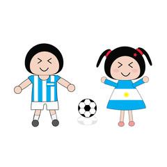 vector boy and girl in Argentina football uniform