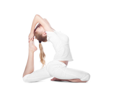 young beautiful woman doing yoga on white background