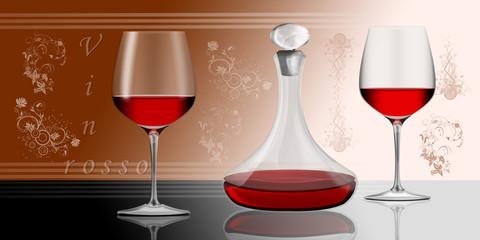 zwei Rotweingläser mit Dekanter