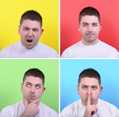 Collage of man with different facial expressions against multico