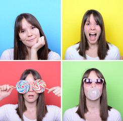 Collage of woman with different facial expressions against multi