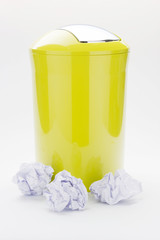 Color trash can on isolated background