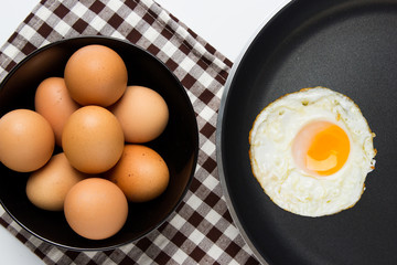 Eggs and pan on isolated background