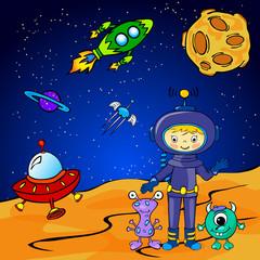 Funny monster aith astronaut