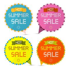 Hot Summer Sale Paper Retro Vector Labels Set