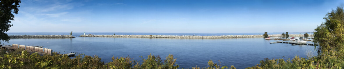 Panoramic view of harbor, River St Lawrence, Ontario, Canada