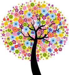 Wall Murals Birds, bees Colorful Flower Tree