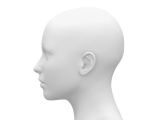 Blank White Female Head - Side view