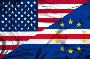 Waving flag of Cape Verde and USA