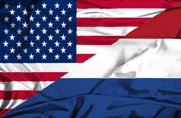 Waving flag of Netherlands and USA