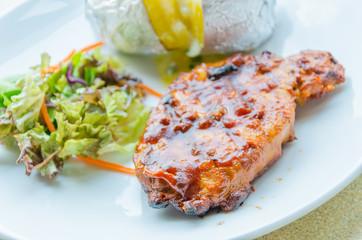 Grill pork steak
