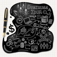 Business doodles icons set. Ink concept.