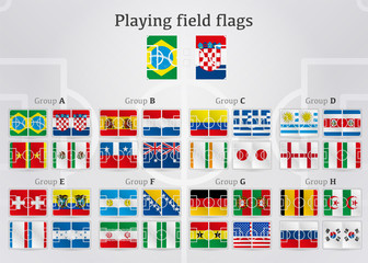World cup football field flags