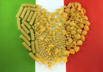 macaroni on the background colors of the Italian flag