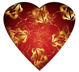 Weisses Herz - Gold auf Rot