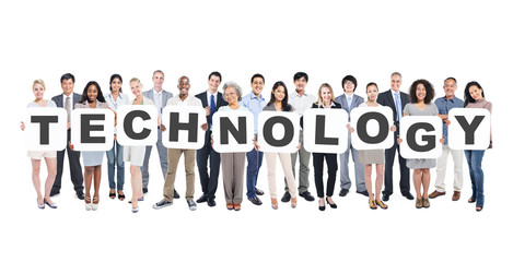 Wall Mural - Multi-Ethnic Group of  People with Technology Letter