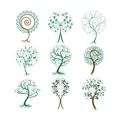 Set of decorative trees for design