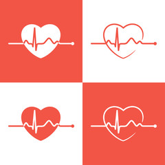 Set of cardiogram icons