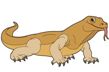 Cartoon animal - goanna - illustration for the children