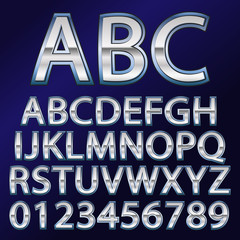 Vector illustration of a metal like font