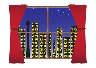 CityScape Night Lights Curtains Stars